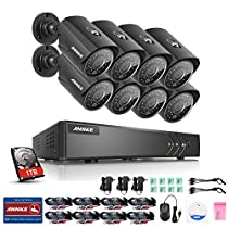 Annke 8CH 1080N HD TVI Security Camera System CCTV DVR W/ 8x 960P 1.3MP Indoor/Outdoor Weatherproof CCTV Camera Systems, H.264+, Smart Playback, Email Alert with Image, One 1TB