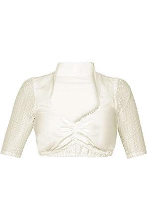 88f22a848143c8 MarJo Damen Dirndl Bluse Stehkragen Dreiviertel Arm mit Spitze Creme,  Creme, 42
