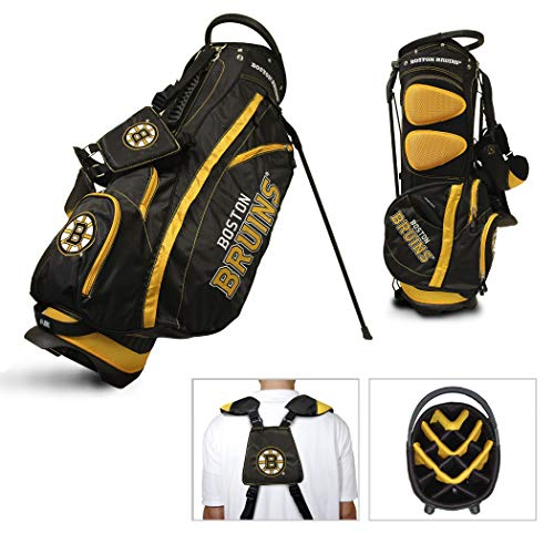(Team Golf NHL Boston Bruins Fairway Golf Stand Bag, Lightweight, 14-way Top, Spring Action Stand, Insulated Cooler Pocket, Padded Strap, Umbrella Holder & Removable Rain Hood)