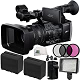 Sony FDR-AX1E Digital 4K Video Camera Recorder 10PC Bundle. Includes 2 Replacement F970 Batteries + AC/DC Rapid Home & Travel Charger + 3PC Filter Kit (UV-CPL-FLD) + 160 LED Video Light + MORE