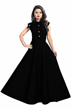 d58c64c3ecb JSV FASHION Women s Taffeta Satin Anarkali Style Gown (Black
