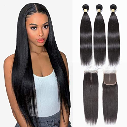NUOF 9A Brazilian Straight Hair 3 Bundles with Closure (18 20 22+16closure Middle Part) 100% Unprocessed Virgin Human Hair Bundles with HD Lace Closure Straight Weave Hair Extensions Natural Color