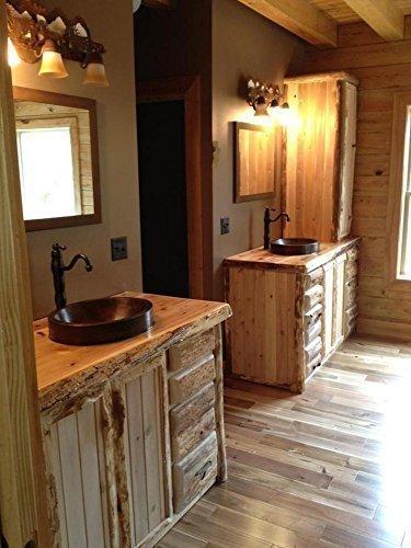 Rustic 48 Inch White Cedar Bathroom Vanity