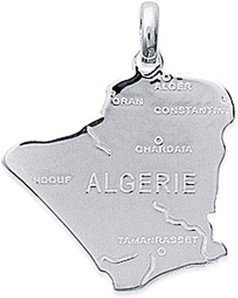 Pendentif en Argent Massif 925//1000 Carte de lAlg/érie Obrillant-Bijoux