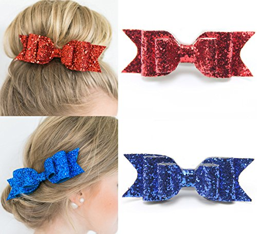 [2Pcs Fireboomoon Glitter Satin Big Bow Hair Clip Barrette Accessory For Girls and Womens (Red and Blue)] (Red Glitter Hair Bows)