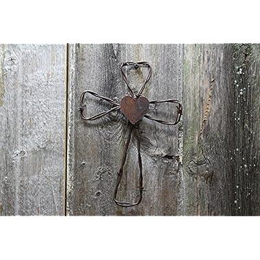 Recycled Barbwire Cross w/ 2  Heart
