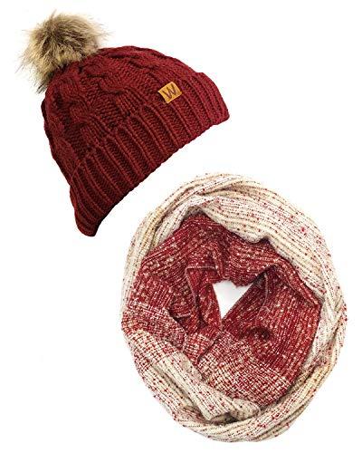 - Bowbear Tricolor Winter Knit Infinity Scarf with Beanie, MTW + Wine Red/Pom Pom