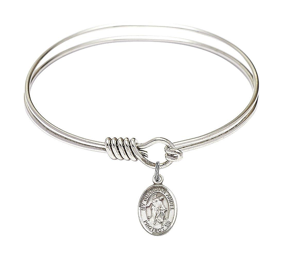 Guardian Angel W Child Charm On A 6 1//4 Inch Round Eye Hook Bangle Bracelet