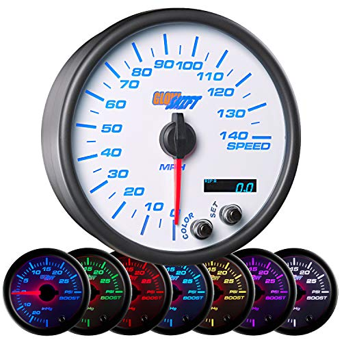(GlowShift White 7 Color 140 MPH Speedometer Gauge - Mounts In Custom Dashboard - Resettable Trip Meter - White Dial - Clear Lens - 3-3/4
