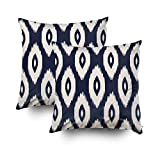 Musesh Pack of 2 navy blue and ivory tribal ikat dots Cushions Case Throw Pillow Cover For Sofa Home Decorative Pillowslip Gift Ideas Household Pillowcase Zippered Pillow Covers 20X20Inch