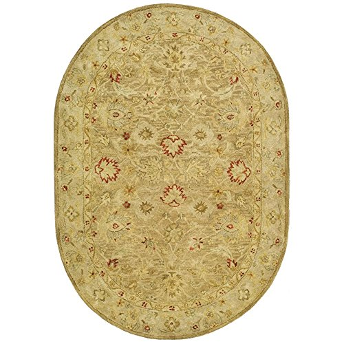 Safavieh Antiquities Collection AT822B Handmade Traditional Oriental Brown and Beige Wool Oval Area Rug (7'6'' x 9'6'' Oval) by Safavieh