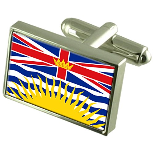 British Columbia Sterling Silver Flag Cufflinks by Select Gifts