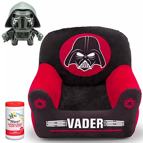 Delta Disney Star Wars Darth Vader Children's Inflatable Club Chair with Velour Cover and Star Wars BulbBotz Kylo Ren Alarm Clock with Bonus Kids Hypoallergenic Antibacterial Hand Wipes