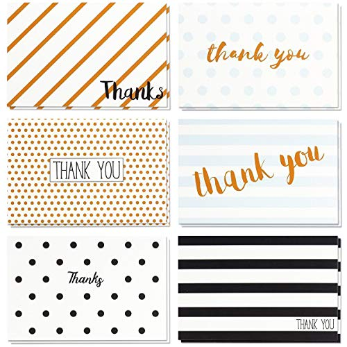(Thank You Cards - 48-Count Thank You Notes, Bulk Thank You Cards Set - Blank on The Inside, Retro Designs - Includes Thank You Cards and Envelopes, 4 x 6 Inches)