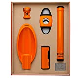 LUBINSKI Cigar Gift Set Cigar Cutter and Cigar Jar Tube and Ashtray and Cigar Bracket (5pcs/Set),Packed with Nice Gift Box