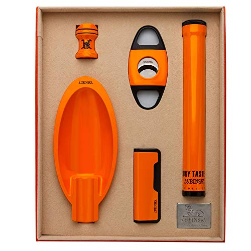 LUBINSKI Cigar Gift Set Cigar Cutter and Cigar Jar Tube and Ashtray and Cigar Bracket (5pcs/Set),Packed with Nice Gift Box by LUBINSKI (Image #9)