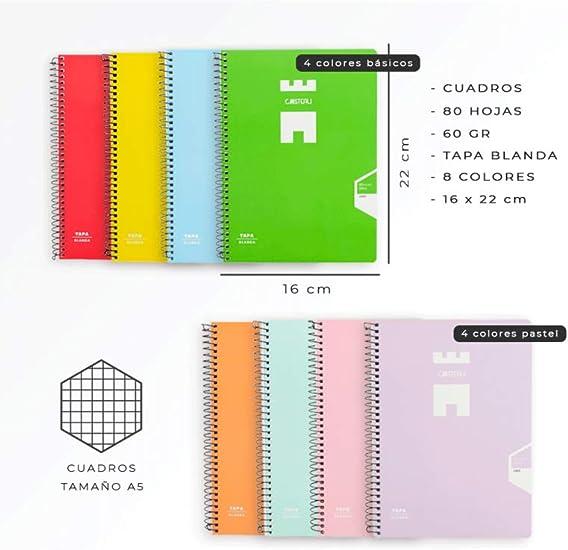 Casterli - Pack De 8 Cuadernos Espiral, Tapa Blanda, Tamaño A5 ...