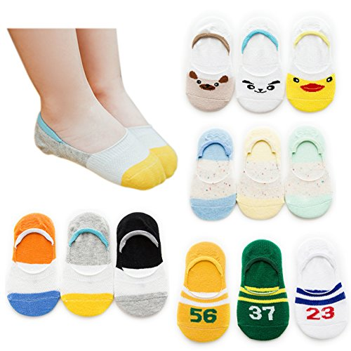 (VWU 6/12 Pack Girls Boys No Show Socks Toddler Low Cut Cotton Socks 1-8 Years (Set 1, 1-3 years old))