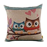 LINKWELL 18″ x 18″ inches Forest Cute Owl Design for Kid Room Decor Burlap Pillowcase Cushion Cover