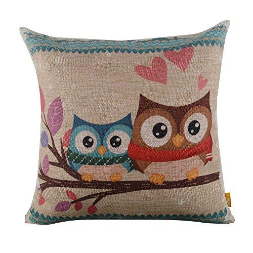 linkwell 18 x 18 inches forest cute owl design for kid room decor burlap pillowcase cushion cover - Owl Decor
