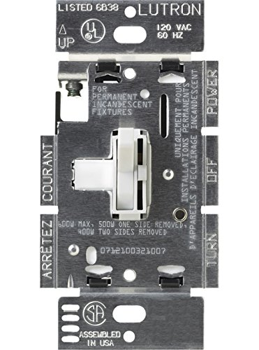 Lutron Toggler Dimmer for Halogen and Incandescent Bulbs, Single-Pole or 3-Way, TG-603PH-WH, ()