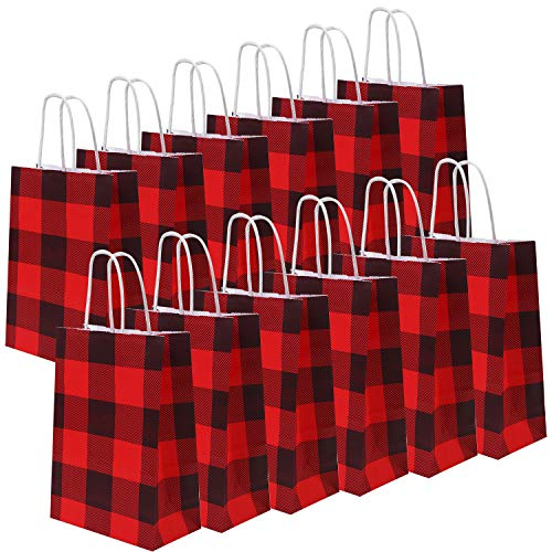 Cooraby 20 Pieces Red and Black Plaid Paper Party Bags Christmas Gift Bag Birthday Kraft Party Bags with Handle for Wedding and Party Celebrations (Color A)