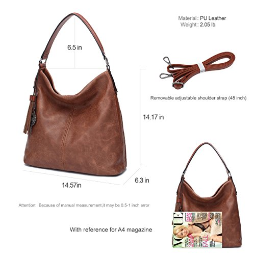 Crossbody Bags Totes PU Handbags Leather Brown Women Hobos Big Purse Shoulder 8RzW0wdq