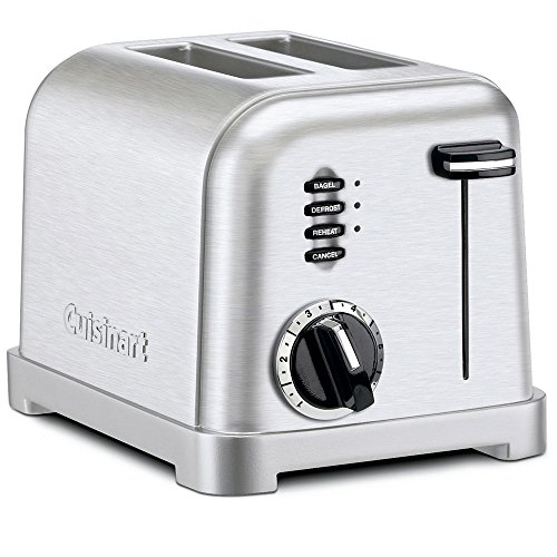 2 Slice Stainless Steel Toaster w/ Slide-Out Crumb Tray and Extra-Lift Carriage Lever