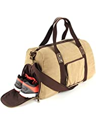 Duffel Bag with Shoe Compartment Canvas Weekender Tote