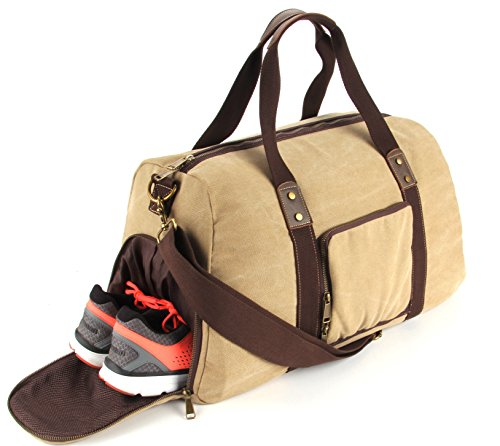 Cheap Duffel Bag with Shoe Compartment Canvas Weekender Tote (Khaki)