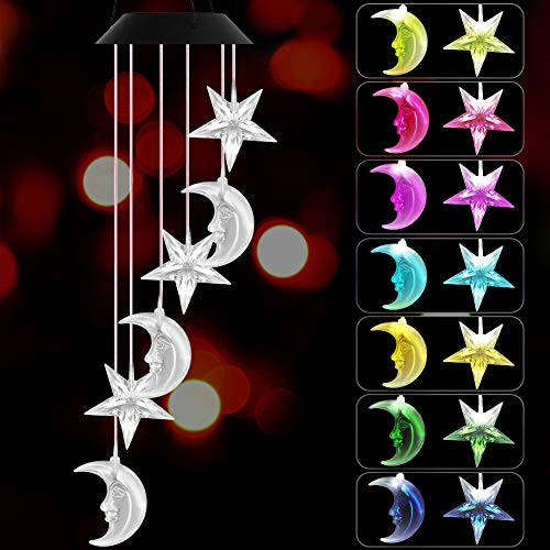 VICOODA Wind Chimes Outdoor, Solar Wind Chimes Color-Changing Moon Star Waterproof Unique Decoration Chimes Mobile Solar Light Mom Birthday Gift for Home Balcony Festival Garden Yard(Moon & Stars)