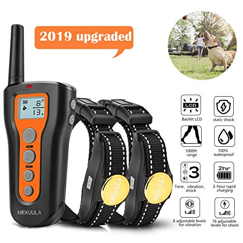 MEKUULA Dog Training Shock Collar for 2 Dogs - Rechargeable & Waterproof - 1000ft Pet Trainer Collars with Beep Vibration Shock for Small Medium Large Dogs