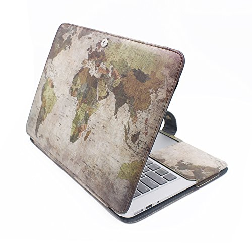 Map Leather Case (iCasso Fashion Folio Case Cover PU Leather Smart Protective Sleeve Case For Macbook Pro 13 Inch Retina Model A 1425/A1502-Vintage Map)