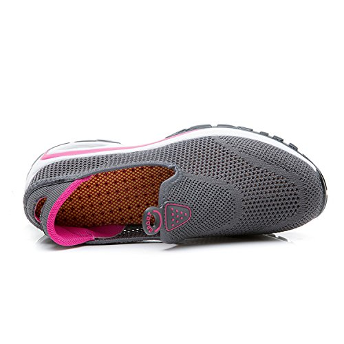 MOOKEY Women Trainers Sneakers Sport Gym Fitness Mesh Breathable Running Low Top Increase No Lace Weave Shoes Dark Gray lvnJG9W