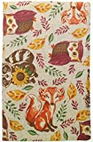 Vinyl Tablecloth Woodland Animals with Flannel Backing. Forest Animals on Beige Background (52'' x 70'' Oblong)