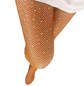 Sexy Party Crystal Mesh Stockings 2 Pairs Sparkle Rhinestone Fishnets Tights (Regular, Chocolate×2)
