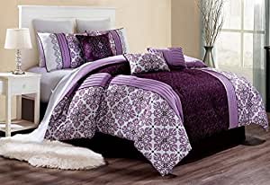 Modern 7 Piece Bedding BETHANY Pinch Pleat Fine Printed Comforter Set in Purple / Dark Purple / White - (California) CAL KING size set with accent pillows