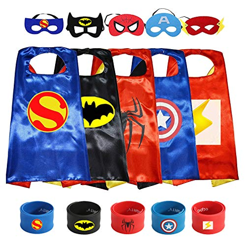 Munfa 5 Different Superheros Capes and Mask Costumes Set Matching Slap Bracelet for Kids -