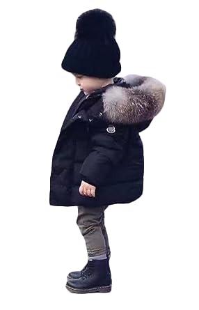 8fb6f47f616db Kids Baby Boys Girls Winter Coat Big Fur Collar Down Hooded Parka Jacket   Amazon.co.uk  Clothing