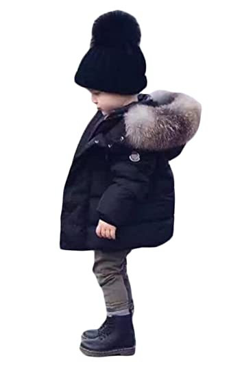427f853387c10 Amazon.com  Toddler Baby Boy Winter Warm Jacket Gown Kids Hoodie Outwears  Coat 5T Tag 120 (Black)  Clothing