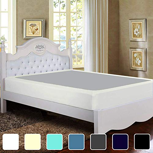 Twin Six Premium Bed Box Spring Cover, Queen/Split Queen Size, Update Bed Skirt, Mattress Protector Encasement, Ivory