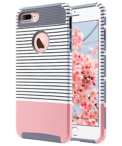 ULAK iPhone 7 Plus Case, Slim Dual Layer Protection Scratch Resistant Hard Back Cover Shock Absorbent TPU Bumper Case for Apple iPhone 7 Plus 5.5 inch Minimal Rose Gold Stripes+Grey ()