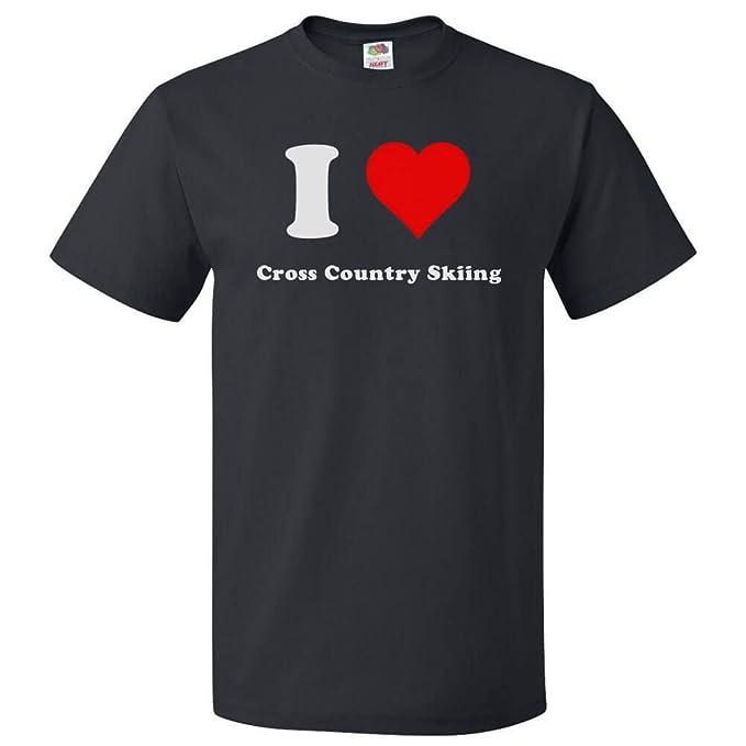 8dc43bd2 Amazon.com: ShirtScope I Love Cross country skiing T shirt I Heart Cross  country skiing Tee: Clothing