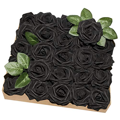 YINGSHENG Black Roses Artificial Flowers, 25pcs Real Looking Artificial Roses Black Foam Flower with Stem for Halloween Wedding Bridal Bouquets Baby Shower Party DIY Home -