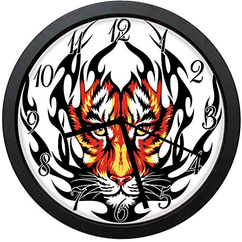 FangZhuruiw Jungles Prince Tigers Head in Black Flames Frame Looking with Cat Eyes-Stylish Modern Round Wall Clock -12 inch,Quiet and Non-Ticking,Used to Decorate - Modern Clock Flame