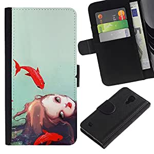 EuroTech - Samsung Galaxy S4 IV I9500 - Fish Girl Watercolor Sea Deep Sad Meaning - Cuero PU Delgado caso Billetera cubierta Shell Armor Funda Case Cover Wallet Credit Card