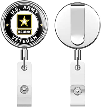 US Army Armed Forces Expeditionary Medal Operation Desert Fox Round ID Badge Key Card Tag Holder Badge Retractable Reel Badge Holder with Belt Clip