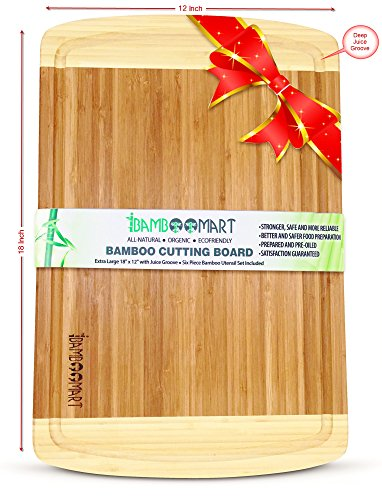 Show #1 Beautiful Wedding, Housewarming, or Birthday Gift Set   Bamboo Cutting Board with 6-Piece Bamboo Wood Utensils   Organic Bamboo Wood Chopping Board with Groove   Extra Large 18x12 & Thick price
