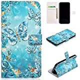 QFFUN Glitter 3D Pattern Design [Blue Butterfly] Magnetic Closure Leather iphone XR Wallet Case with Card Holder