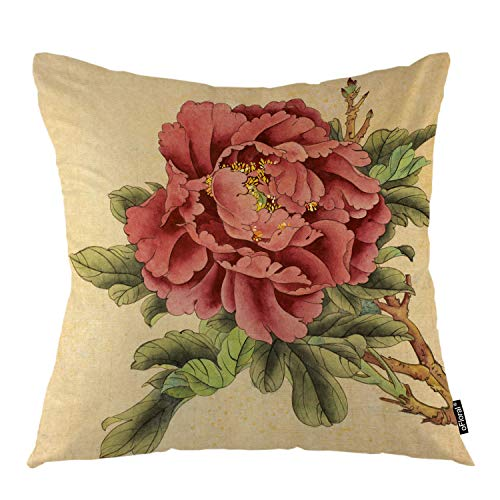 (oFloral Peony Flower Throw Pillow Covers Chinese Bloom Plant Pink Petal Rose Leaves Decorative Square Pillow Case 18